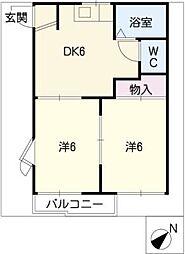スカイルコスモスA・B棟[2階]の間取り