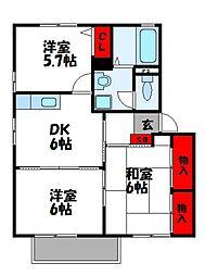ソルイヴェルデB棟[2階]の間取り