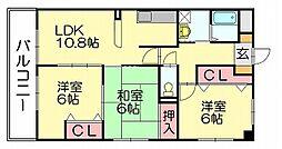 サンコート亀山[3階]の間取り
