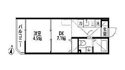 東京都中野区大和町3丁目の賃貸アパートの間取り