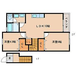 近鉄天理線 二階堂駅 徒歩9分の賃貸アパート 2階2LDKの間取り