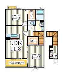 エレガンスブライトK[2階]の間取り