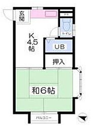 福岡県北九州市小倉南区下城野2丁目の賃貸アパートの間取り