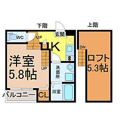 愛知県名古屋市北区金城町2の賃貸アパートの間取り