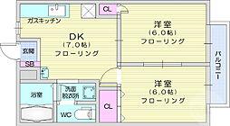 グリーンハイツNo2 1階2DKの間取り