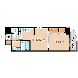 近鉄奈良線 新大宮駅 徒歩2分の賃貸マンション 3階ワンルームの間取り