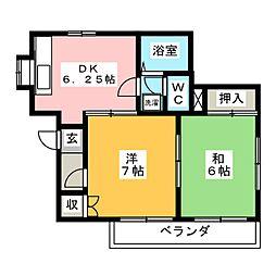 大塚ハイム 1階2DKの間取り