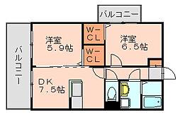 福岡県福岡市博多区板付1丁目の賃貸マンションの間取り