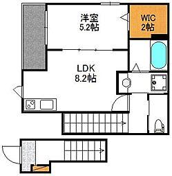 テラスハウス東淡路 2階1LDKの間取り