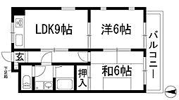 兵庫県宝塚市中山寺3丁目の賃貸マンションの間取り