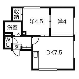 平岸第一マンションB[3階]の間取り
