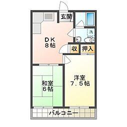 太寺パークハイツ[2階]の間取り