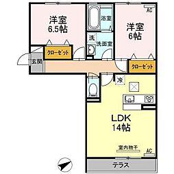 プレンティー中須 B[3階]の間取り