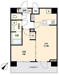 JR山手線 目黒駅 徒歩10分の賃貸マンション 7階1LDKの間取り