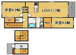 大阪府摂津市別府2丁目の賃貸アパートの間取り