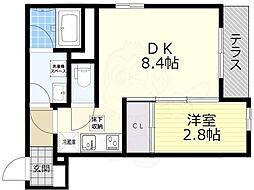 阪急京都本線 高槻市駅 徒歩18分の賃貸マンション 1階1DKの間取り