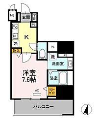 名古屋市営東山線 一社駅 徒歩1分の賃貸マンション 9階1Kの間取り