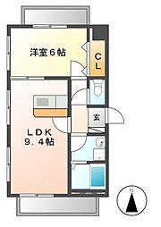 愛知県名古屋市中川区高畑5の賃貸マンションの間取り
