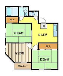 第二コーポ谷岡[3階]の間取り