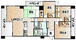 ブロッサム門田II[12階]の間取り