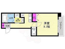 京都市営烏丸線 十条駅 徒歩7分の賃貸マンション 4階1Kの間取り