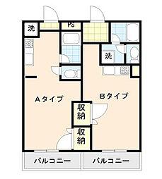 アドバンス2 6階ワンルームの間取り