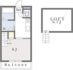 (仮称)古賀市天神7丁目新築アパート 2階1Kの間取り