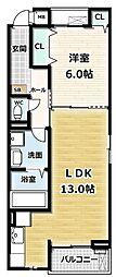 ガーデンハイム久御山 2階1LDKの間取り