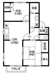 JR京浜東北・根岸線 北浦和駅 バス14分 山中橋下車 徒歩2分の賃貸アパート 2階2LDKの間取り