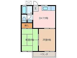 三重県松阪市垣鼻町の賃貸アパートの間取り