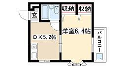 愛知県名古屋市昭和区北山町3丁目の賃貸マンションの間取り