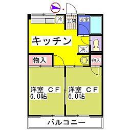 シティハイム サンライズIII[102号室]の間取り