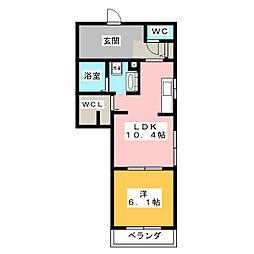 静岡県静岡市葵区大工町の賃貸マンションの間取り