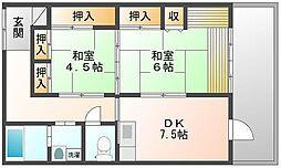 岡山県岡山市北区白石の賃貸マンションの間取り