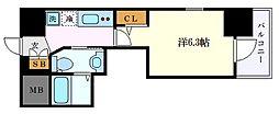 エステムコート名古屋千種グレイス 3階1Kの間取り