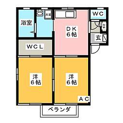 サニーハイツK B棟[2階]の間取り