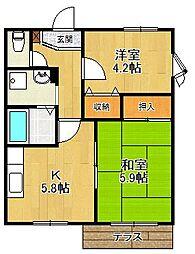 兵庫県西宮市久出ケ谷町の賃貸アパートの間取り