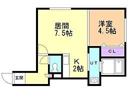 アクシス東野幌 2階1DKの間取り