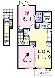 香川県高松市国分寺町福家の賃貸アパートの間取り