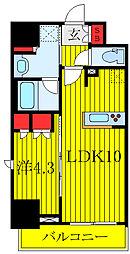 JR埼京線 板橋駅 徒歩6分の賃貸マンション 8階1LDKの間取り