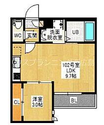 広島電鉄宮島線 東高須駅 徒歩4分の賃貸アパート 1階1LDKの間取り