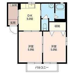 メゾン・ド・プリン B[2階]の間取り