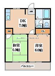 大阪府東大阪市河内町の賃貸アパートの間取り