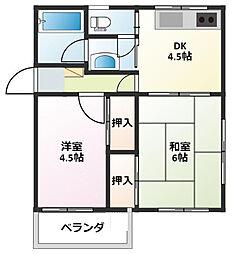 神奈川県大和市南林間8丁目の賃貸マンションの間取り