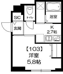 東京都江東区牡丹3丁目の賃貸マンションの間取り