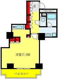文京グリーンコートビュータワー本駒込B棟 14階ワンルームの間取り