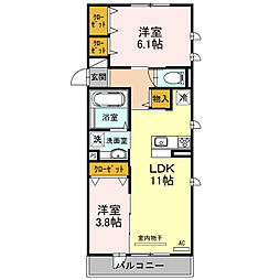 兵庫県三木市自由が丘本町1丁目の賃貸アパートの間取り