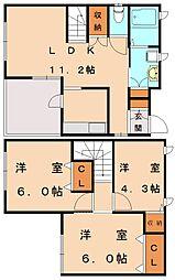 [テラスハウス] 福岡県古賀市日吉3丁目 の賃貸【/】の間取り