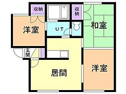 トーヨーハイツA 2階3DKの間取り