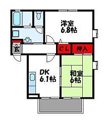 フォブール因 A棟[2階]の間取り